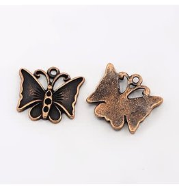 Butterfly 17x18mm Antique Copper x5  NF