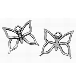 Butterfly 18x18mm Antique Silver x5  NF