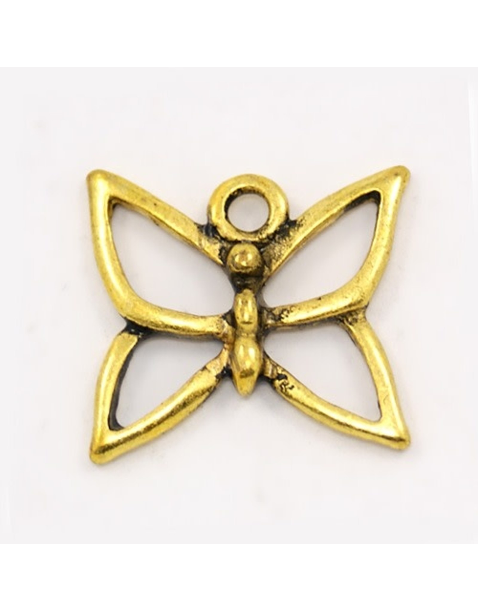 Butterfly 18x18mm Antique Gold x5  NF