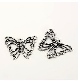 Butterfly 30mm Antique Silver x5  NF