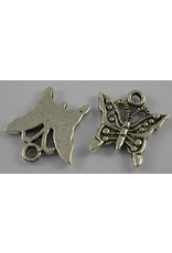Butterfly 18mm Antique Silver x10  NF