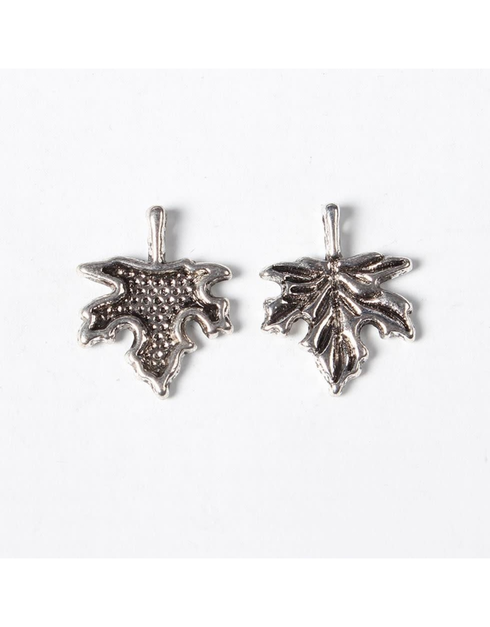 Maple Leaf  17x14mm Antique Silver   NF  x10