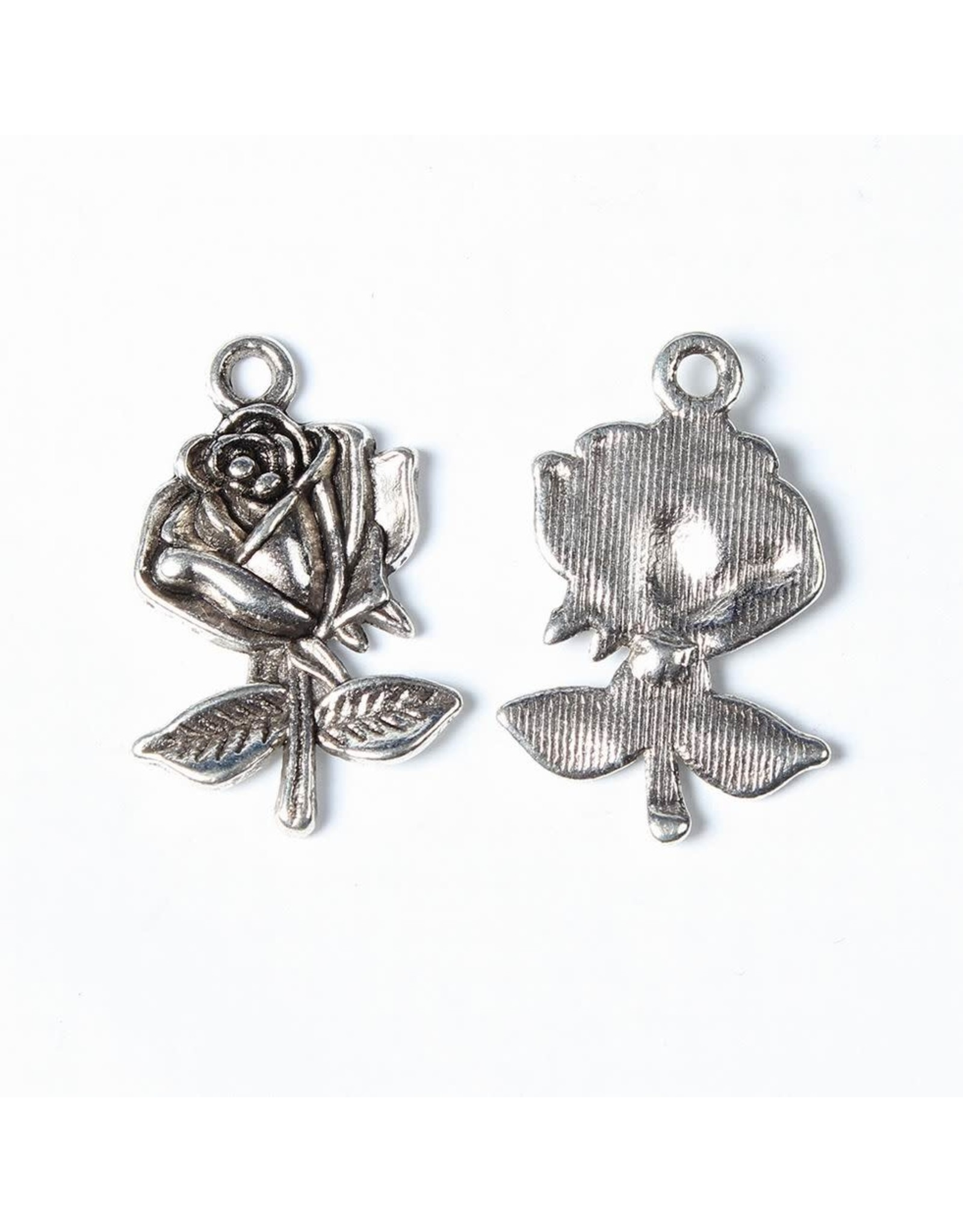 Rose  25x17mm Antique Silver  NF  x10