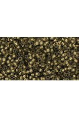 Toho 999f 15  Seed 6g  Black Diamond Grey Gold Lined