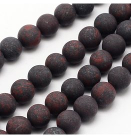 "Brecciated Jasper 8mm Red/Grey Matte 15"" Strand Approx x46"