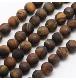 "Tiger Eye  8mm Brown/Yellow  Matte  15"" Strand Approx x46"