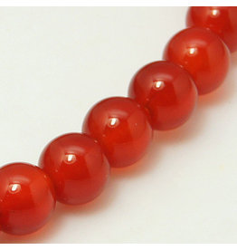 "Carnelian Agate 8mm  Orange/Brown  15"" Strand  approx  x46 Beads"