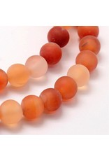 "Carnelian Agate 8mm  Orange/Clear Matte  15"" Strand  approx  x46 Beads"