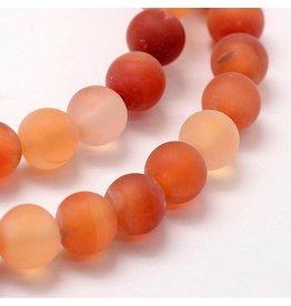 "Carnelian Agate 8mm  Orange/Clear Matte  15"" Strand  approx  x46 Beads"