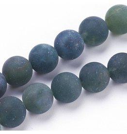 """Moss Agate 8mm  Green Matte  15"""" Strand  approx  x46 Beads"""