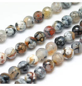 "Fire Agate 8mm  Brown/Black/White  15"" Strand  approx  x46 Beads"