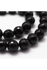 "Agate  8mm Black Faceted Grade ""A""  15"" Strand  approx  x46 Beads"