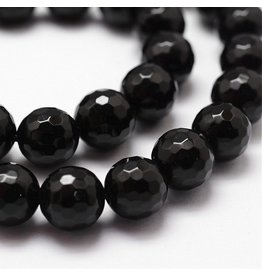 """Agate  8mm Black Faceted Grade """"A""""  15"""" Strand  approx  x46 Beads"""