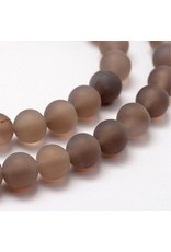 "Agate 8mm  Grey/Brown Matte  15"" Strand  approx  x46 Beads"