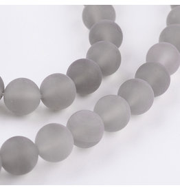 "Agate 8mm  Grey Matte 15"" Strand  approx  x46 Beads"