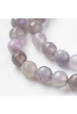 """Agate 8mm  Grey Faceted 15"""" Grade """"A"""" Strand  approx  x46 Beads"""