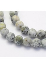 "Crazy Agate 8mm  Black/Grey  Matte 15""  Strand  approx  x46 Beads"