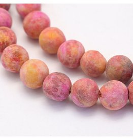 "Crazy Agate 8mm  Pink/Orange  Matte 15"" Strand  approx  x46 Beads"