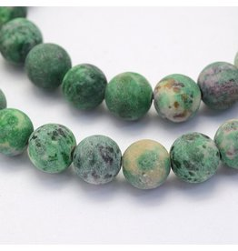"Crazy Agate 8mm  Dark Green  Matte 15"" Strand  approx  x46 Beads"