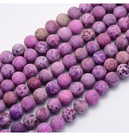 "Crazy Agate 8mm  Purple  Matte 15"" Strand  approx  x46 Beads"