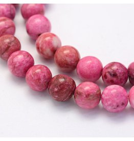 "Crazy Agate 8mm  Pink 15"" Strand  approx  x46 Beads"