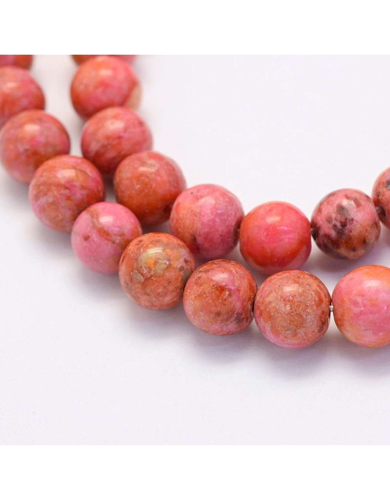 "Crazy Agate 8mm  Orange/Pink 15""  Strand  approx  x46 Beads"