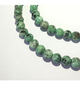 "Crazy Agate 8mm  Turquoise/Black  15"" Strand  approx  x46 Beads"