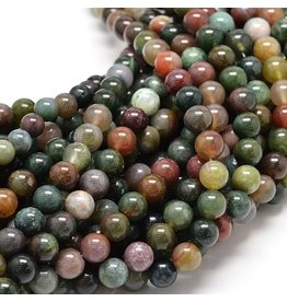 "Indian  Agate 8mm  Green  15"" Strand  approx  x46 Beads"