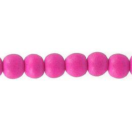 "Wood 6mm Dark Pink 15"" Strand  approx  x65 Beads"