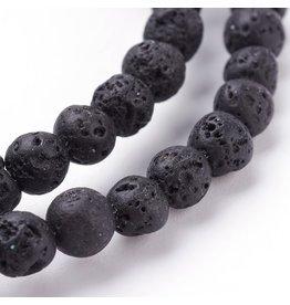 "Lava 4mm Black  15"" Strand  apprx  x90 beads"