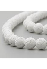 "Lava 8mm White 15"" Strand  apprx 46 beads"