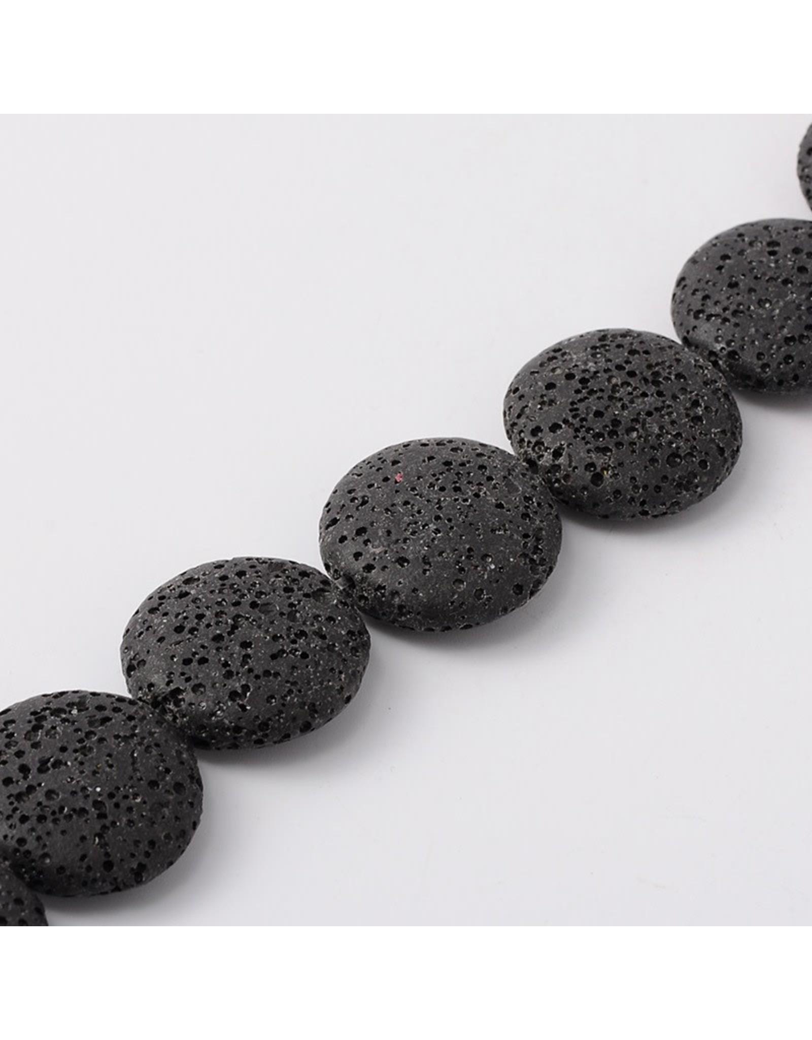 "Lava 32mm Flat Round  Black  15"" Strand  apprx  x12 beads"