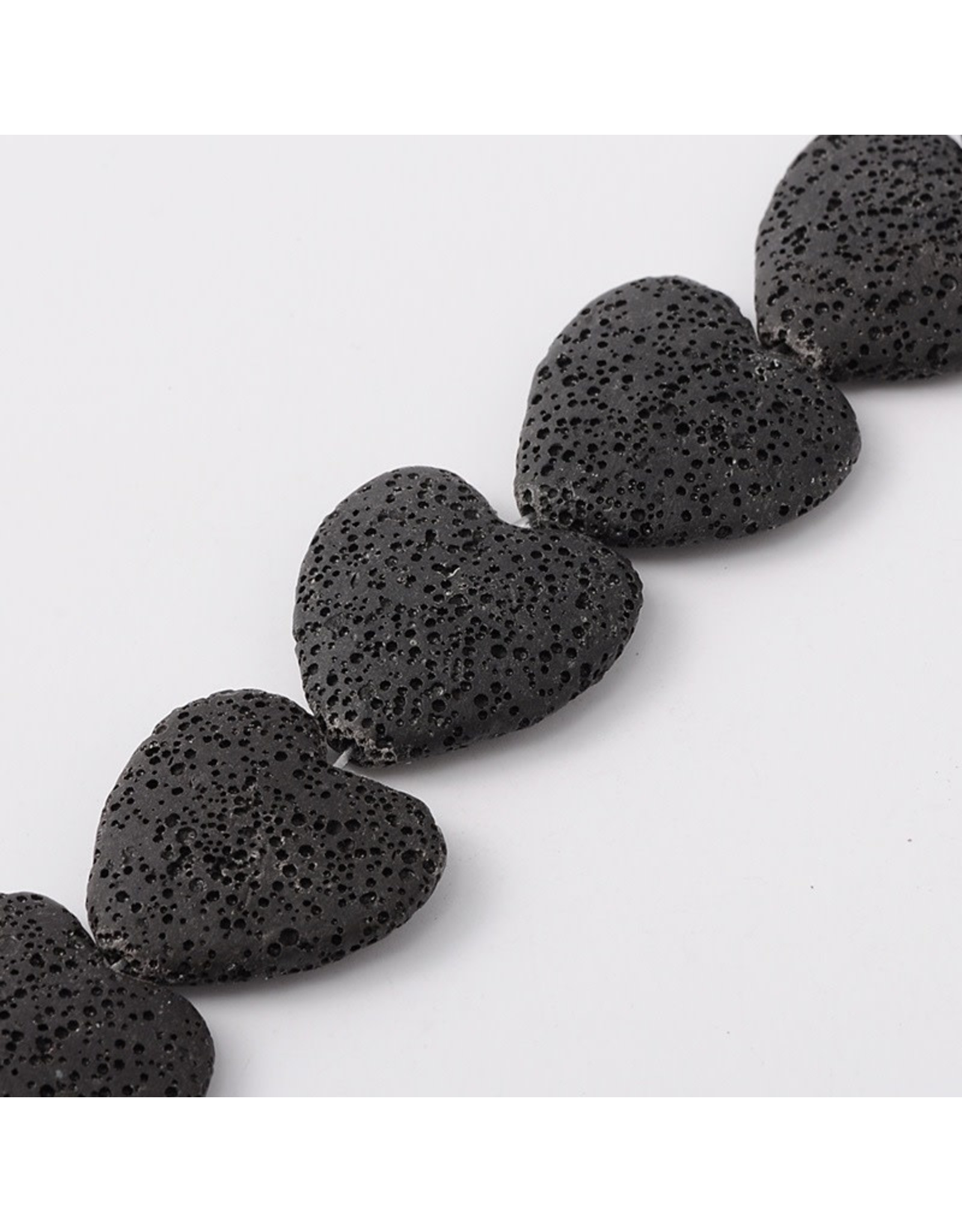 "Lava 30mm Heart  Black  15"" Strand  apprx  x14 beads"