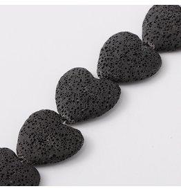 "Lava 30mm Heart  Black  15"" Strand  apprx  x14 beads"