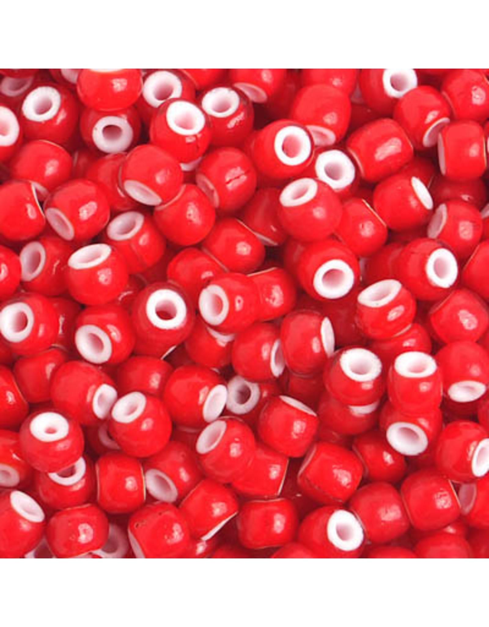 Czech 201421  8 Czech Seed 20g Red White Hearts