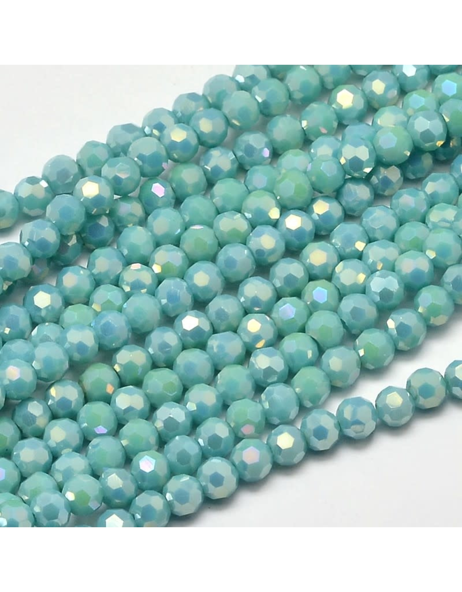 4mm Round Opaque Turquoise Blue AB  x95