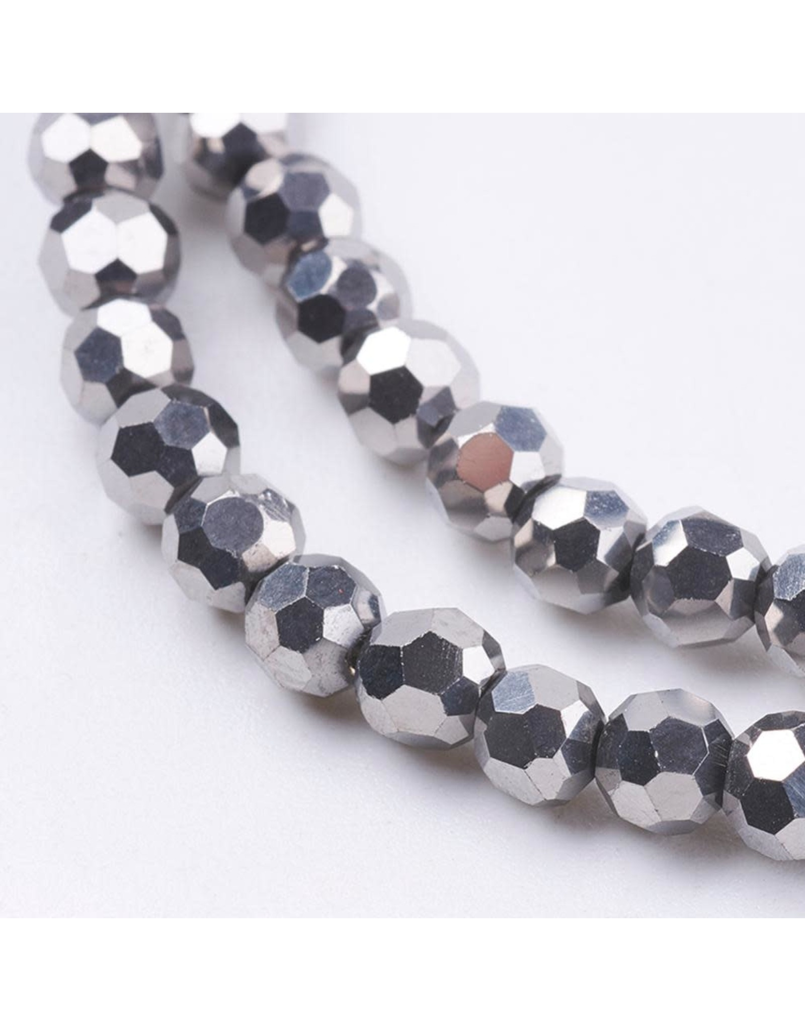 4mm Round Silver Metallic  x95