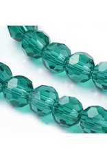 6mm Round  Transparent Teal  Green x95