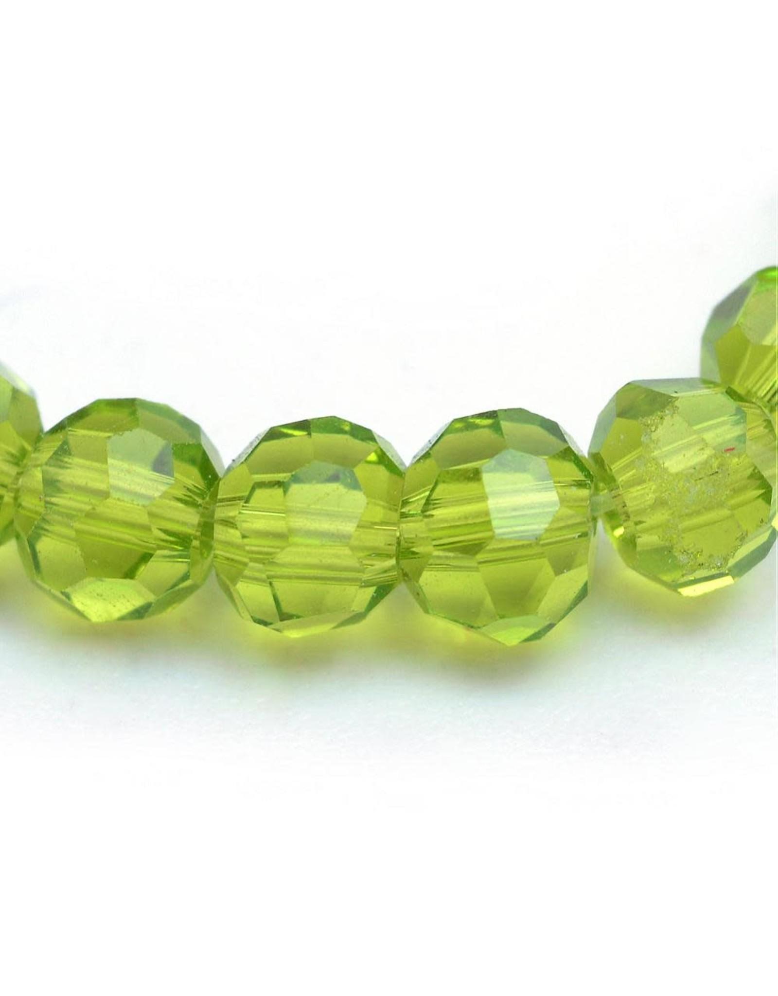 6mm Round  Transparent Olive Green  x95