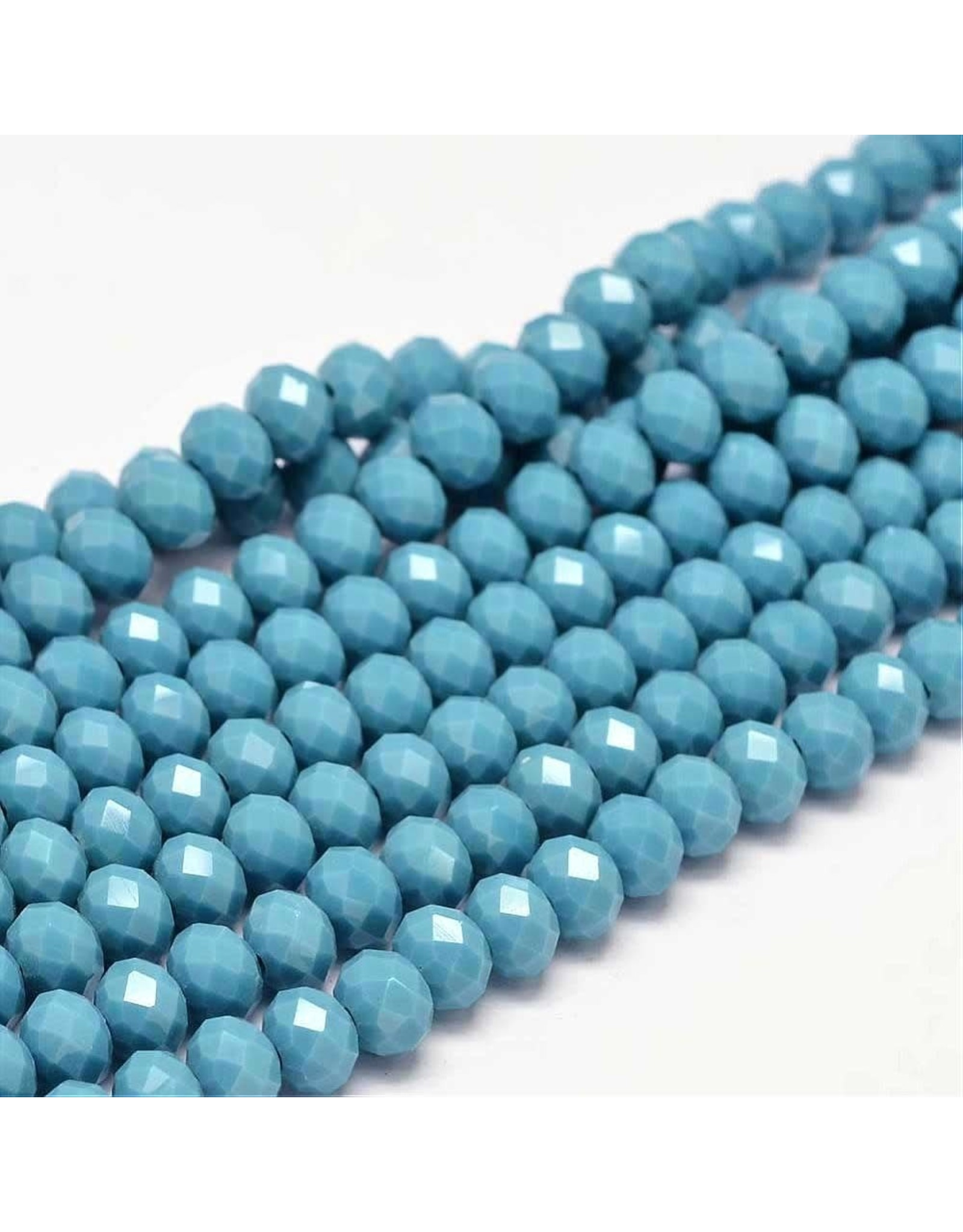 8x6mm Rondelle  Opaque Medium Blue x65