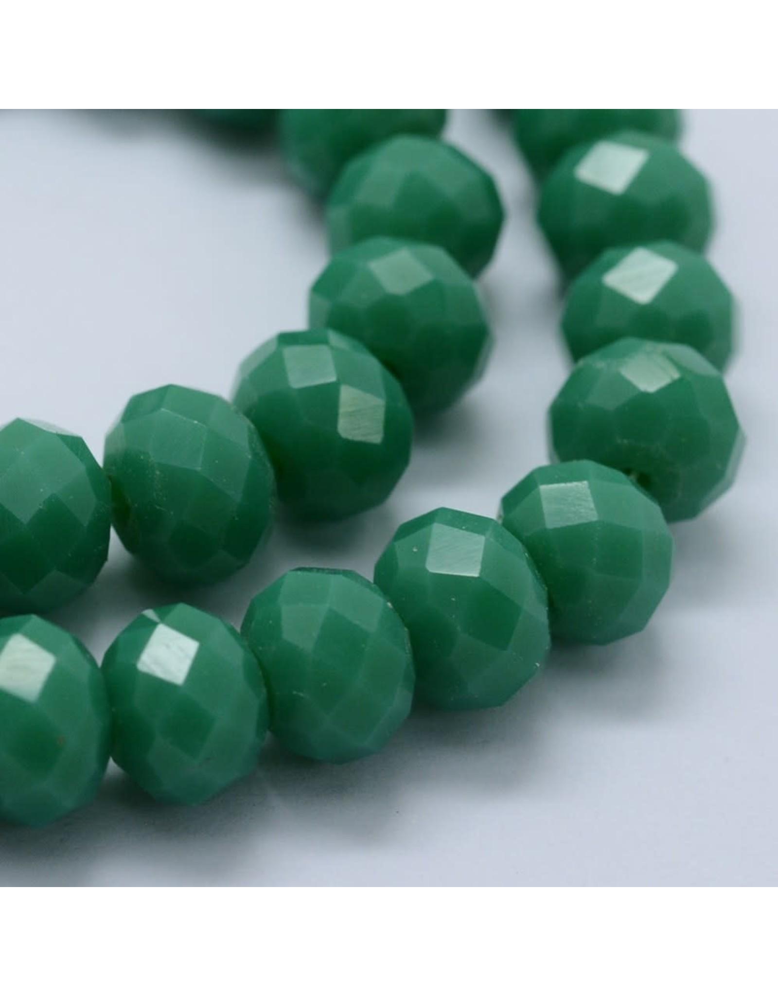 8x6mm Rondelle  Opaque Medium Green  x65