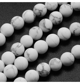 "Howlite 8mm  White/Grey Matte 15"" Strand  approx  x46 Beads"