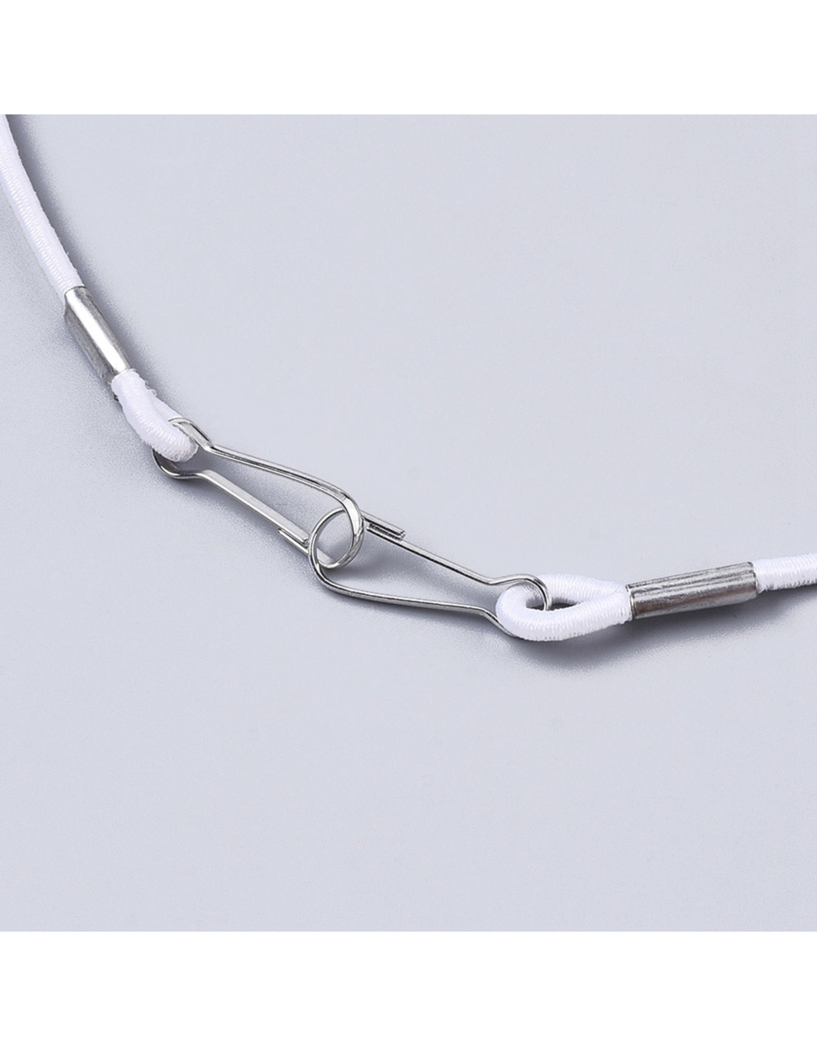 Lanyard Elastic Necklace  3mm x24'' White  x1