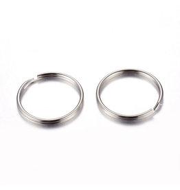 Key Ring 25mm Round Platinum x10