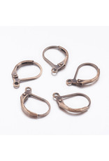 Ear Wire 10x15mm Lever Back Antique Copper x50