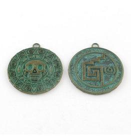 Aztec Skull  42x38mm  Antique Bronze Verdigris Green  x5 NF