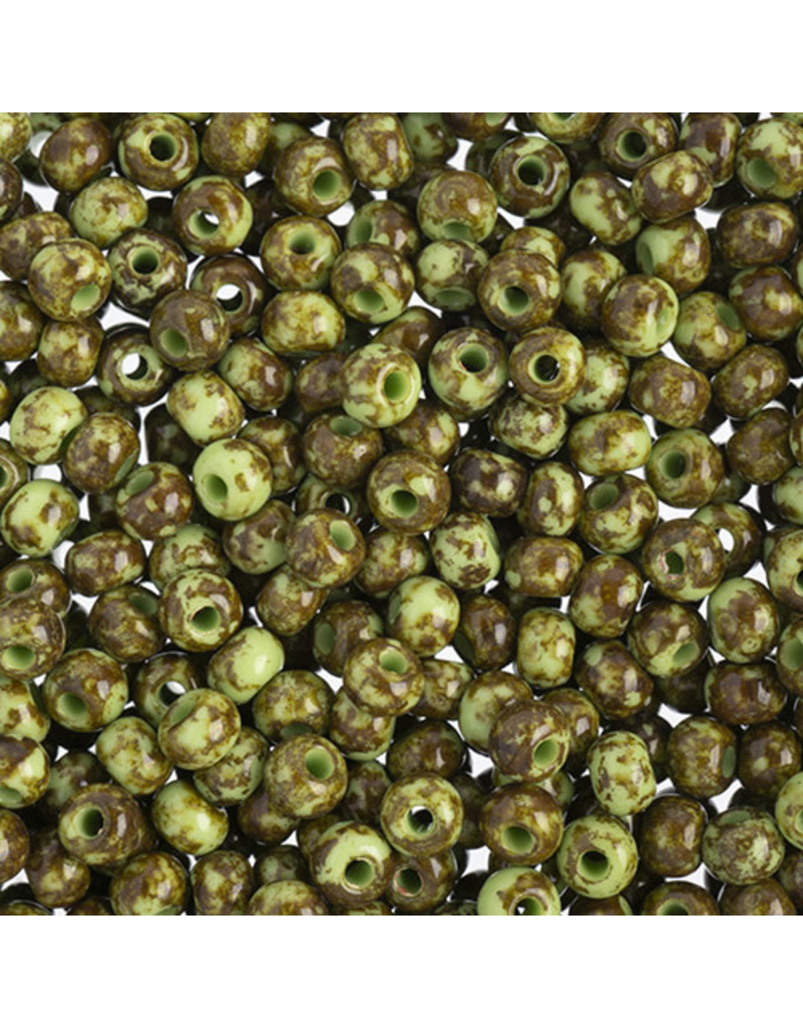 Czech 401525  6   Seed 20g  Opaque Light Green Travertine