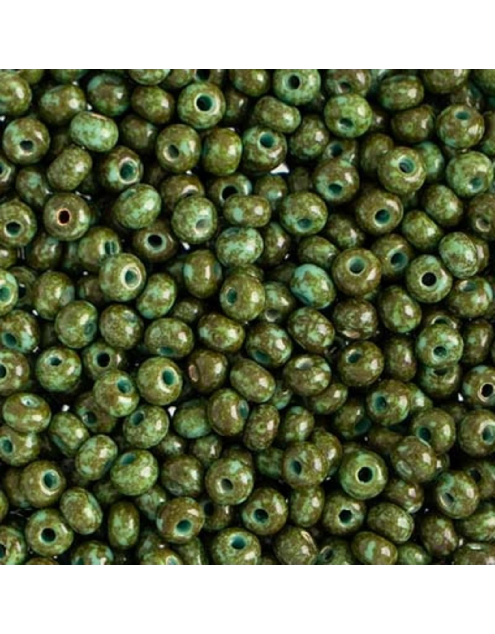 Czech 401524  6 Czech Seed 20g  Opaque Turquoise Green Travertine
