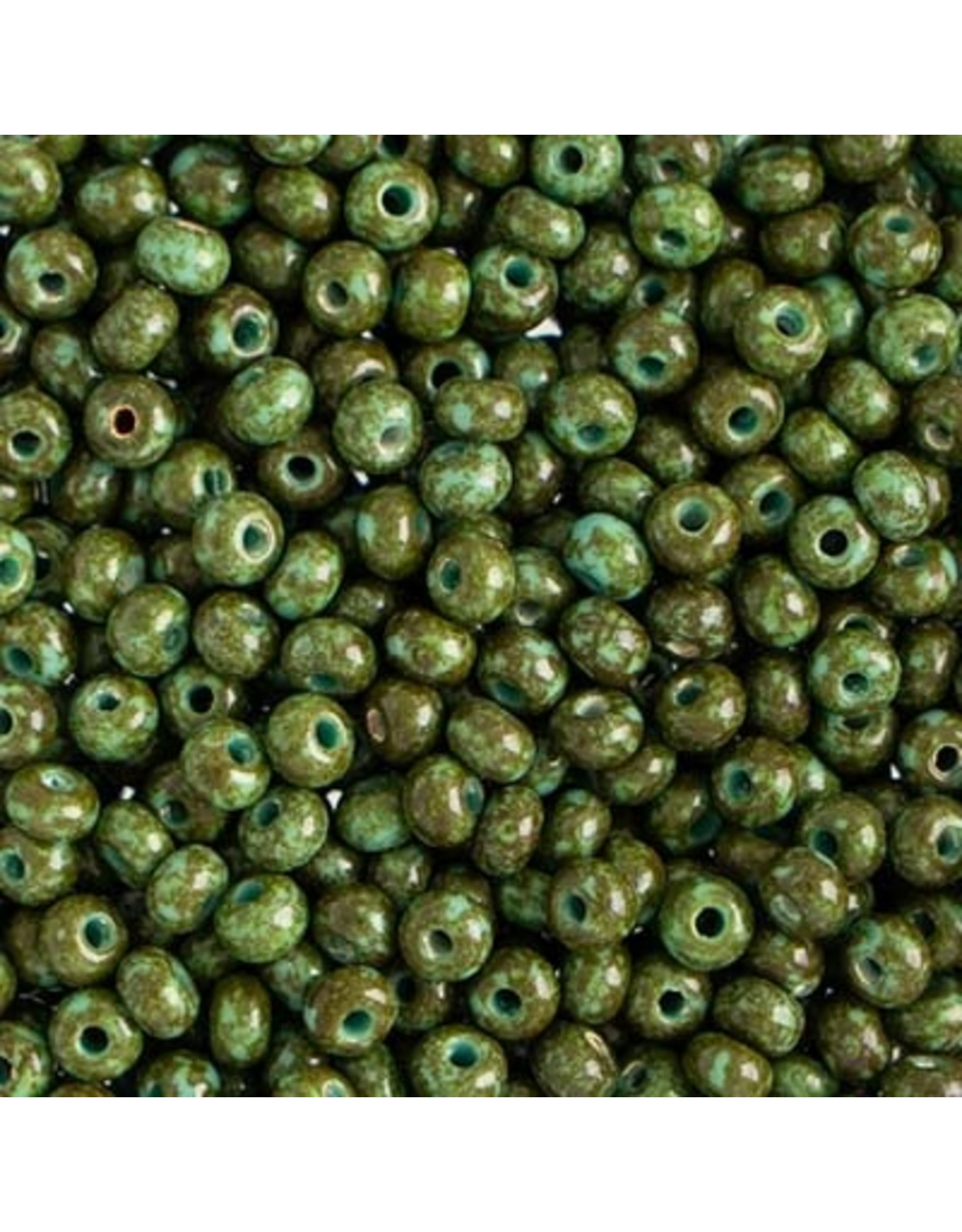 Czech 401524  6   Seed 20g  Opaque Turquoise Green Travertine