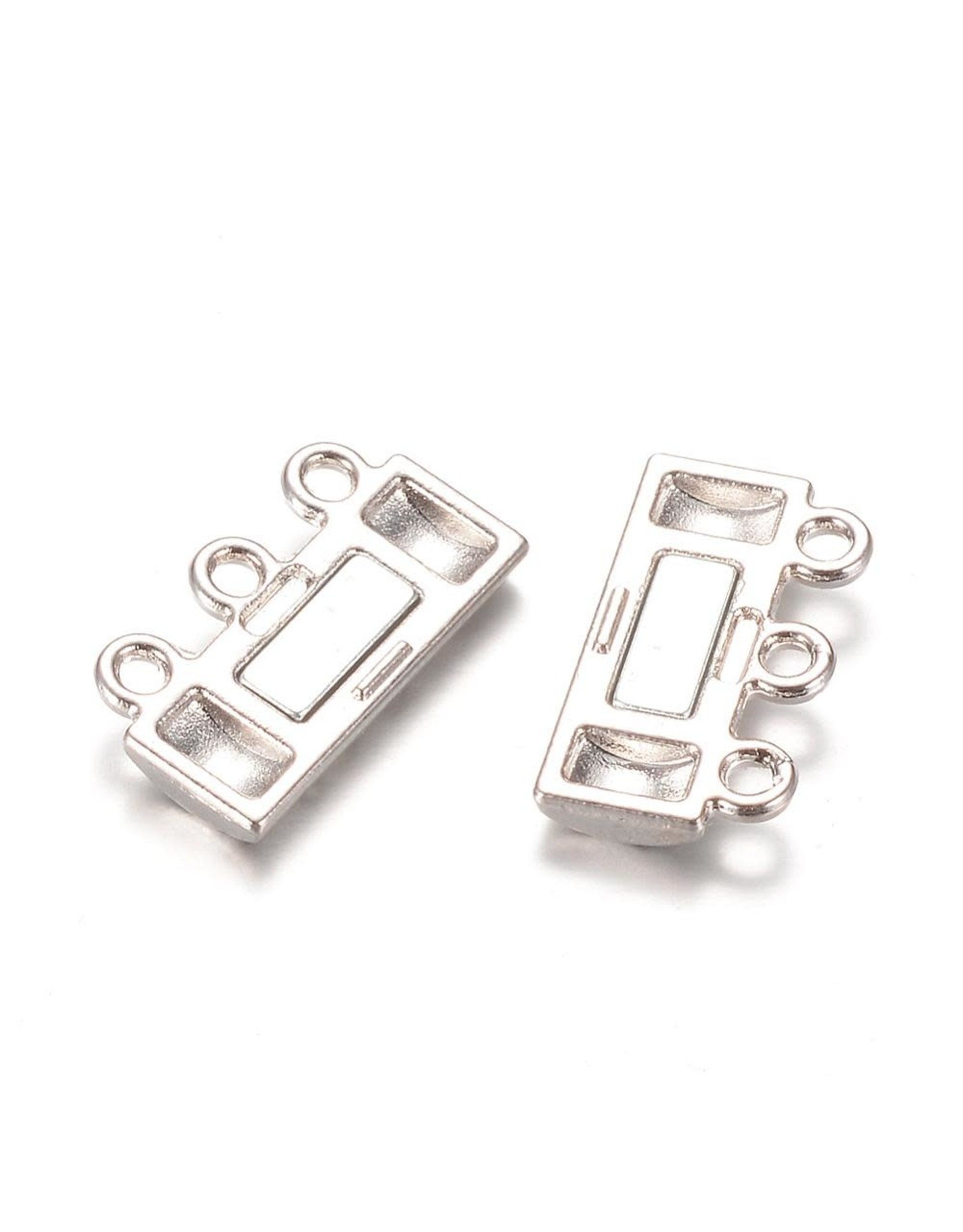 Magnetic Clasp  14x19mm 3 to 3 Loops Platinum   x1